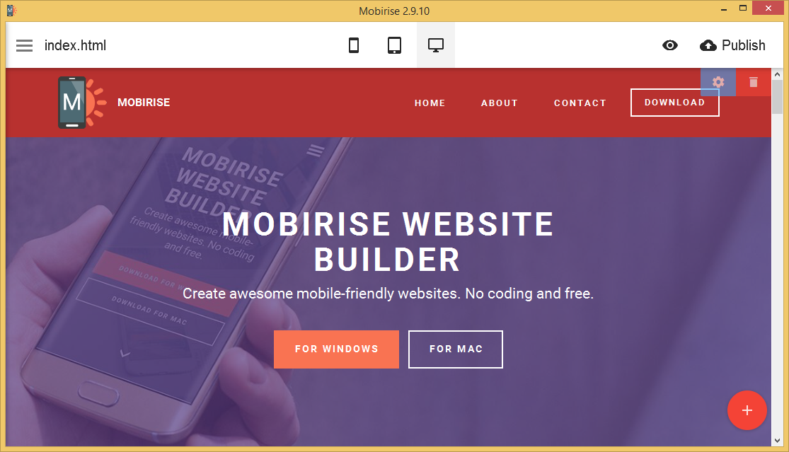 Mobirise is free to use, easy to work with, and with enough functionality to be useful for most internet needs.