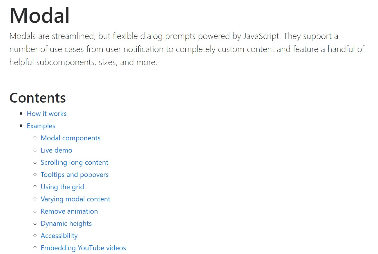 Bootstrap Modal Popup:  authoritative  information