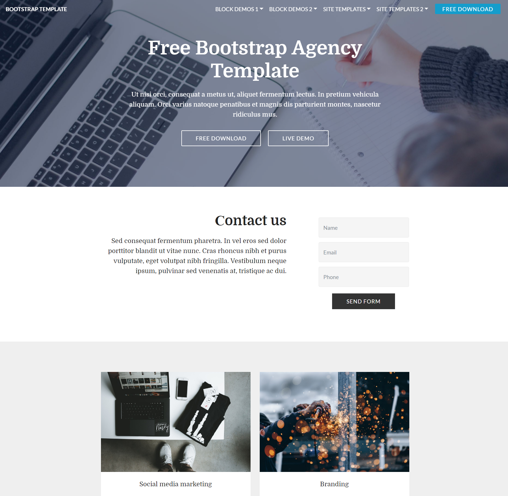 Free Bootstrap Agency Themes