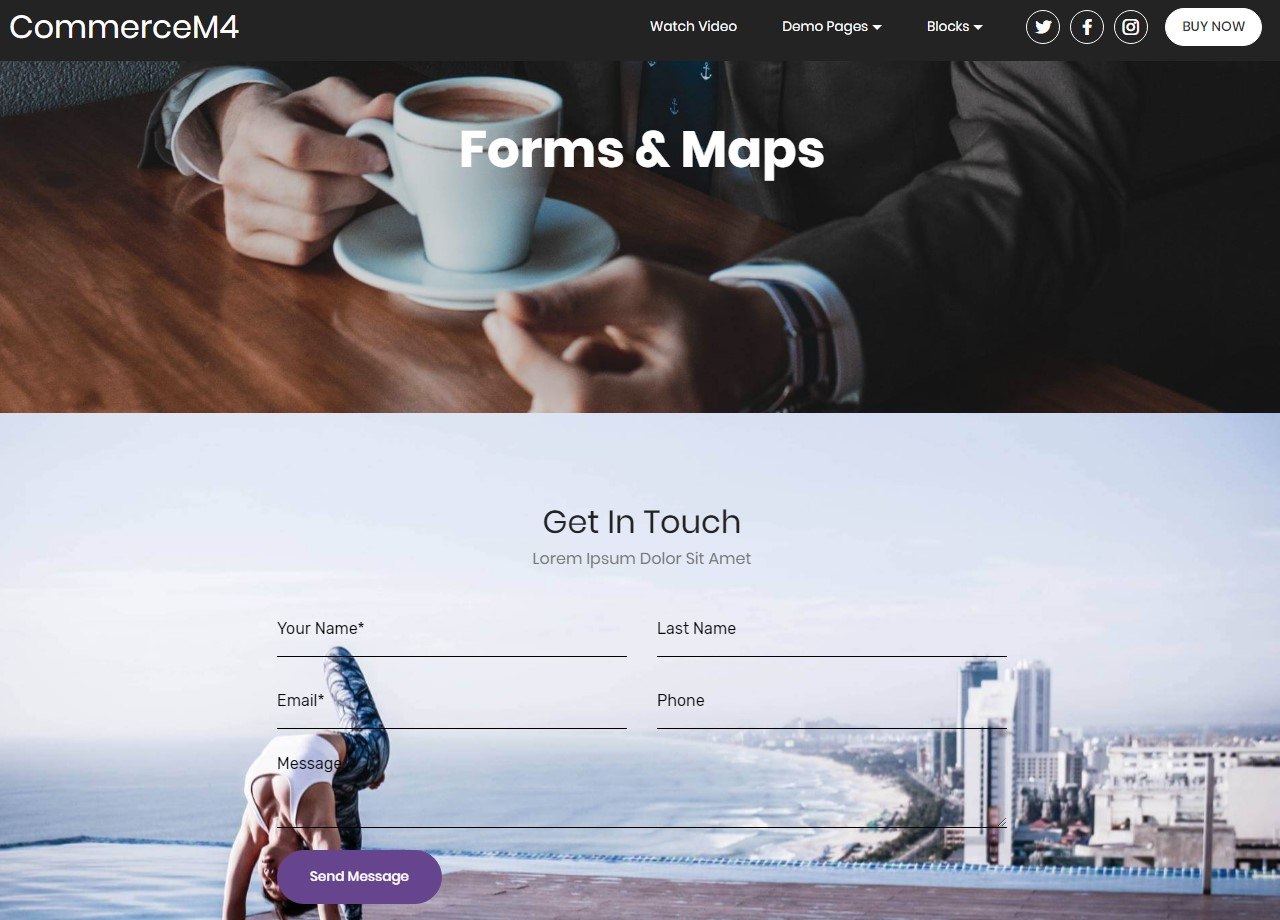 Forms and Maps Template for eCommerce Website