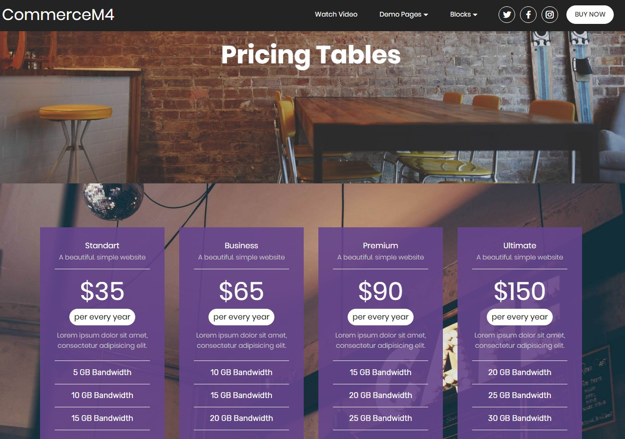 Pricing Tables Template for eCommerce Website