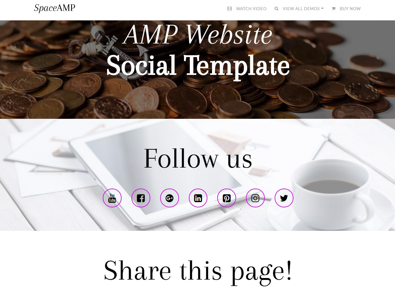AMP Website Social Template