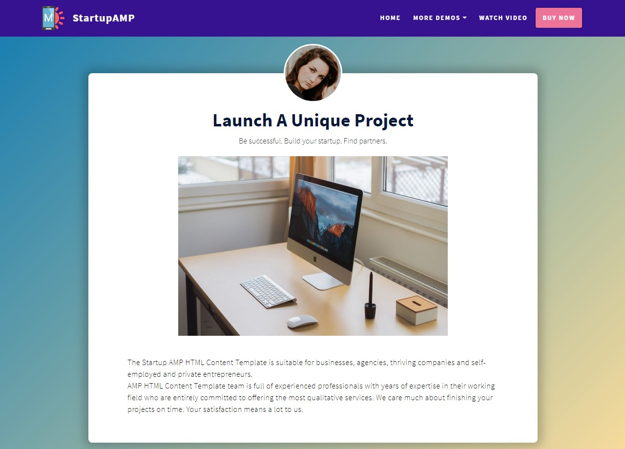 Startup AMP HTML Content Template