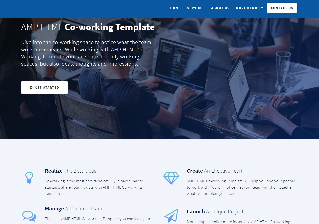New Startup AMP HTML Co-Working Template