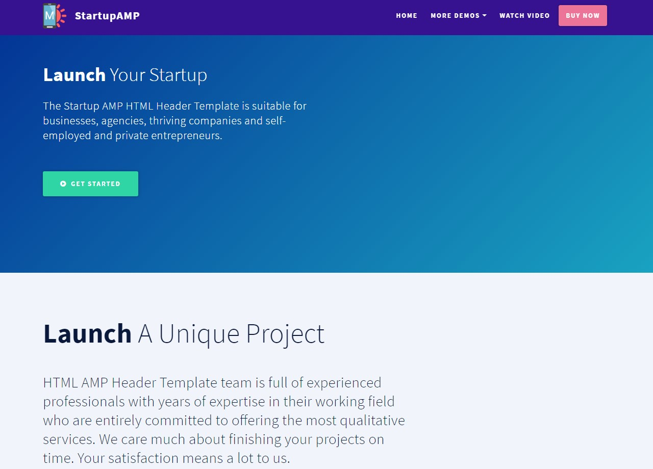 Startup AMP HTML Header Template