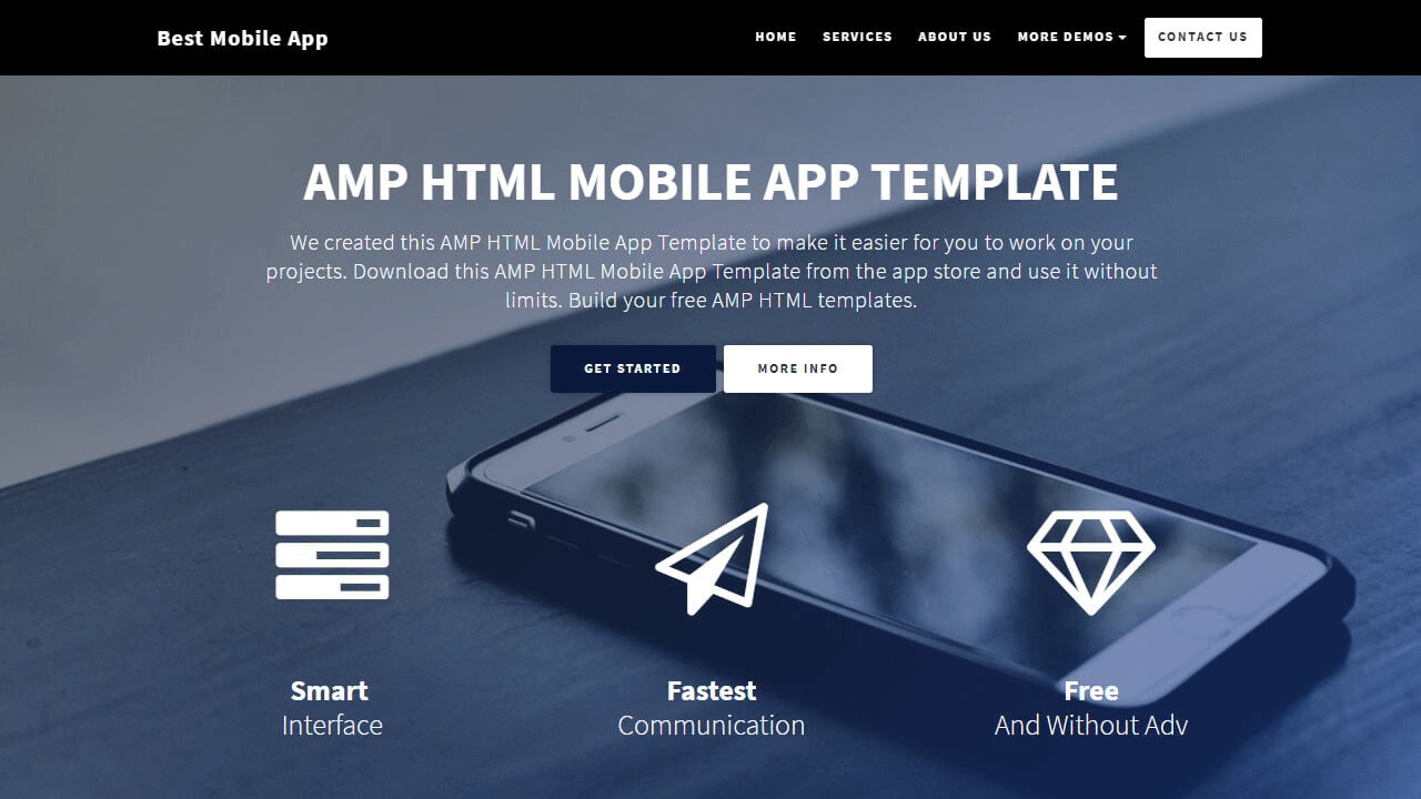 Startup AMP HTML Mobile App Template