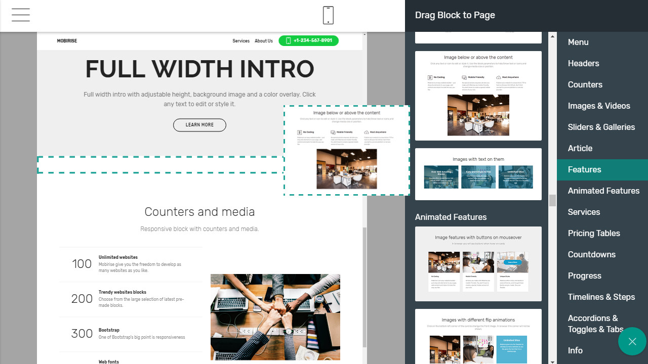 HTML5 page builder