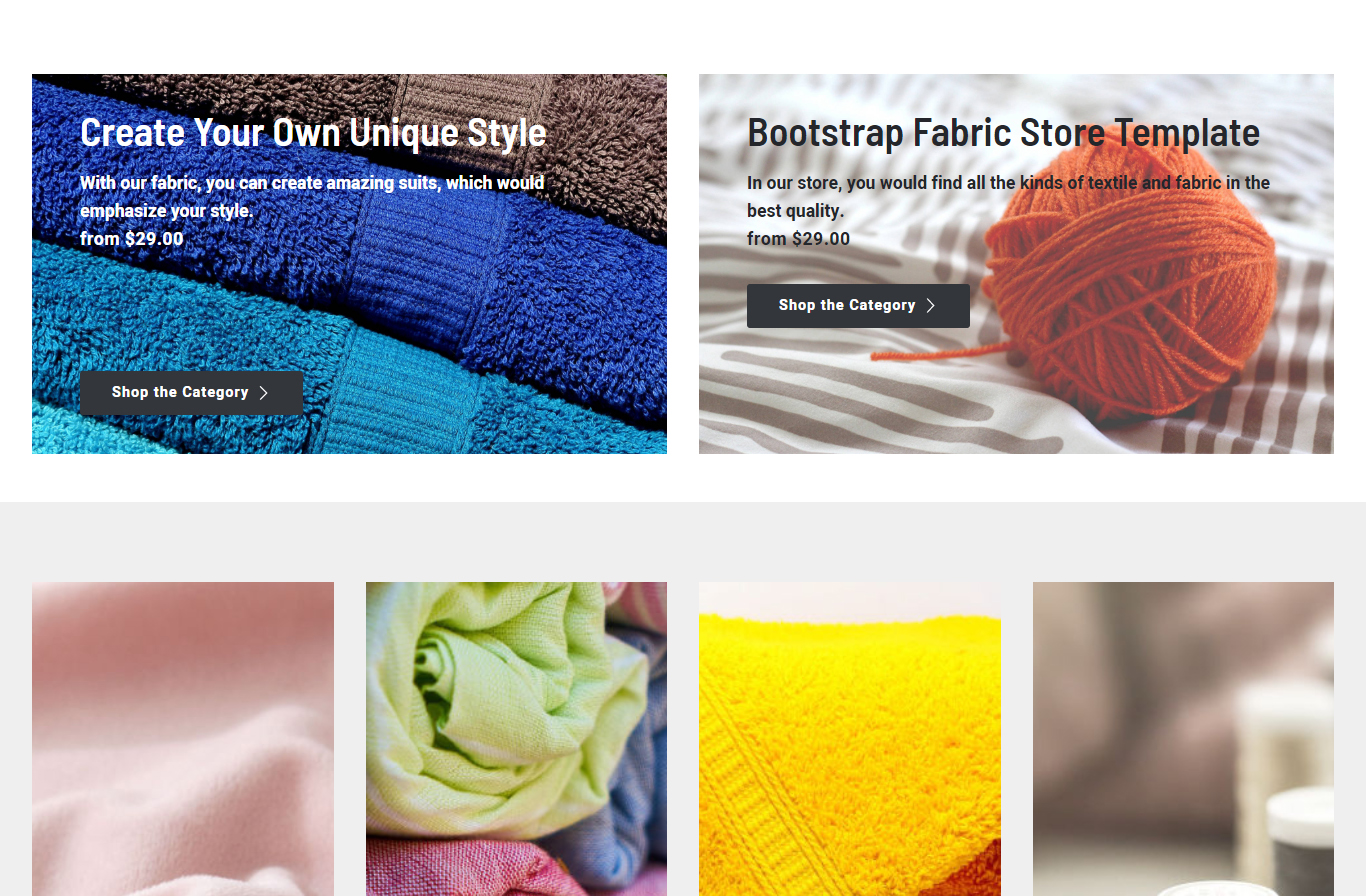 Bootstrap Fabric Store Template