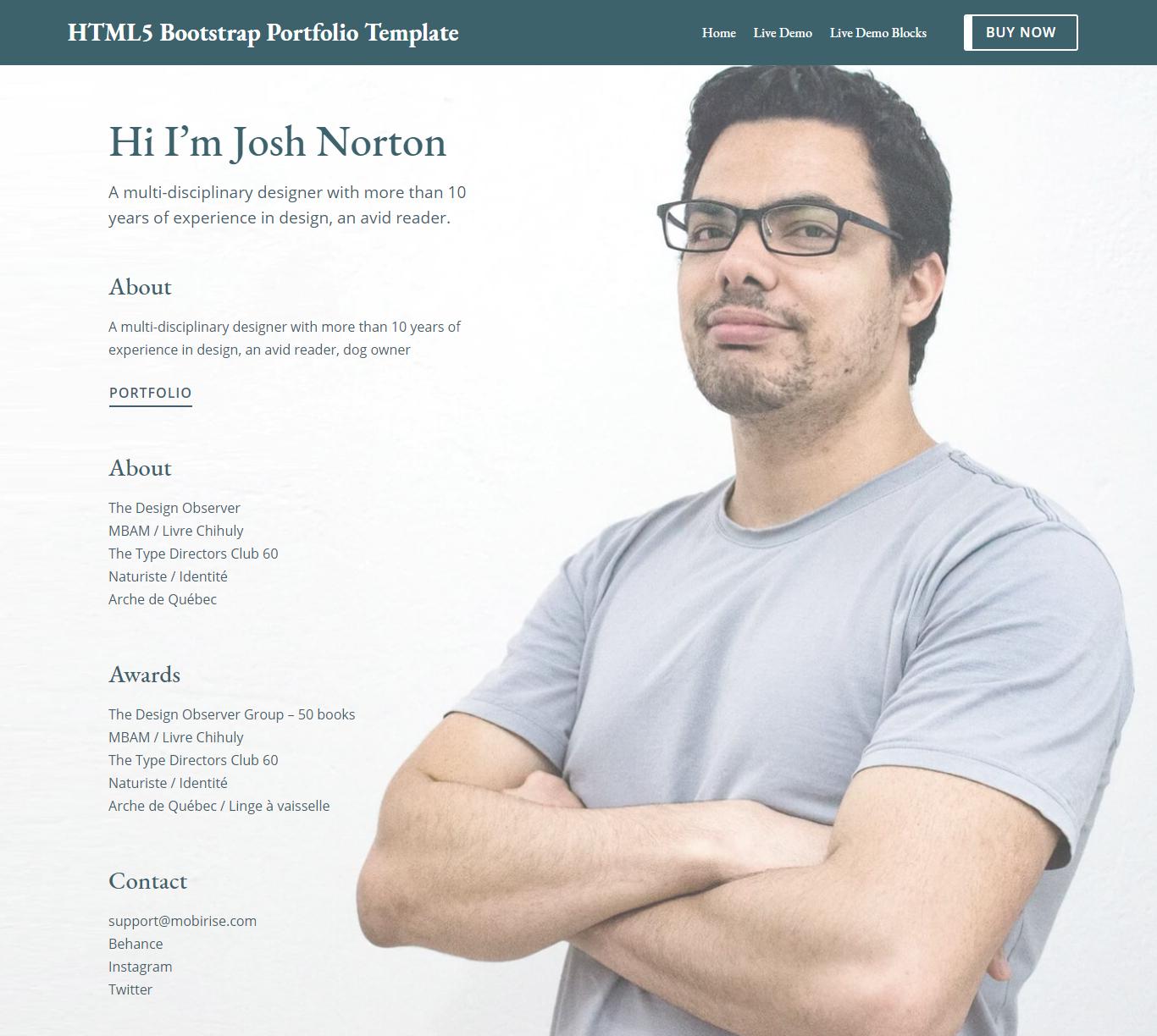 HTML5 Bootstrap Portfolio Template