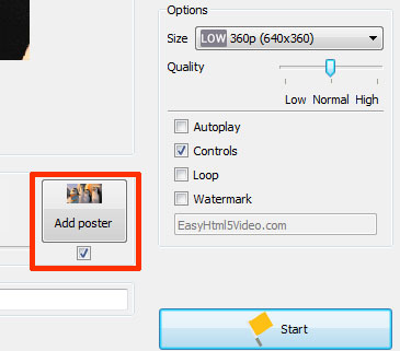 Set your own poster by clicking on the Add poster button in EasyHTML5Video application
