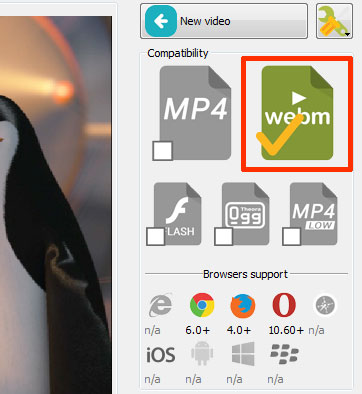Choose 'Webm' video format in EasyHTML5Video application to convert your video to Webm