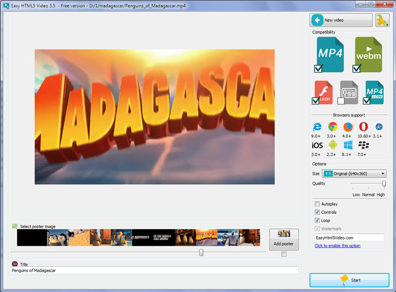 Easy Html5 Video Converter screenshot